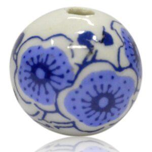 Hvid porcelænskugle med blå blomster