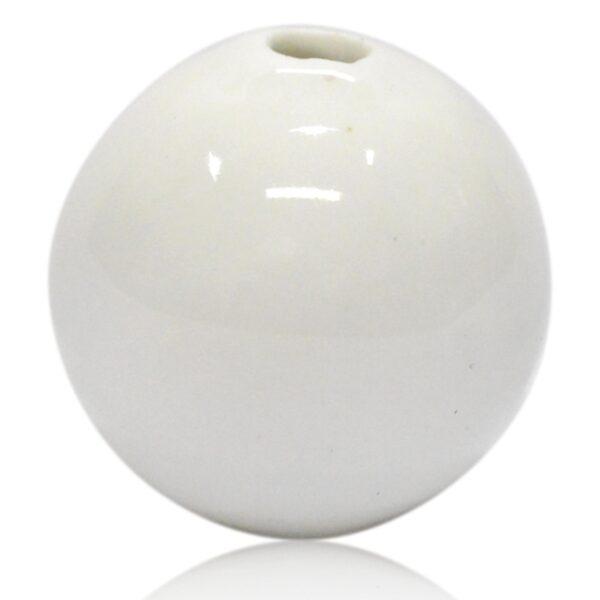 Skinnende hvid porcelænskugle 30mm