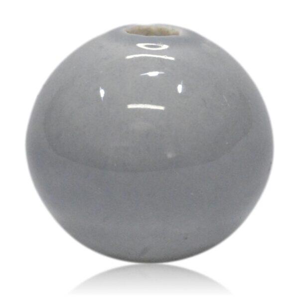 Lysegrå porcelænskugle 30mm - til lysestage