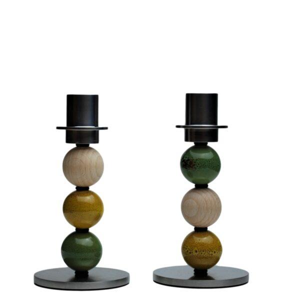 7010084 lysestage natur gul groen kugle kronelys